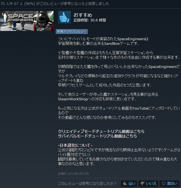 Steamでは『オススメする』にしたレビューです。