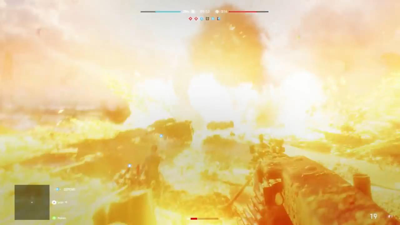 兵士を吹き飛ばすV1ロケット(予告編トレイラーより)